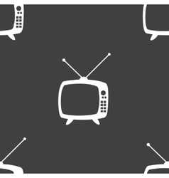 Retro tv web icon flat design seamless gray vector
