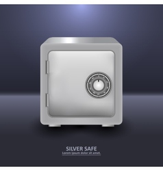 Silver security safe with combination lock vector