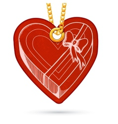 Heart shaped present box label tag hanging on vector