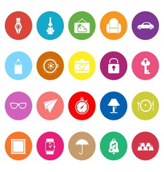 Vintage collection flat icons on white background vector
