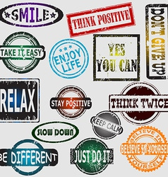 Motivation and positive thinking messages rubber vector