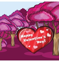 Pink forest with hearts vector