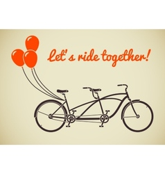 Tandem bicycle with balloons vector