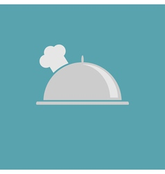 Silver platter cloche and chefs hat icon vector