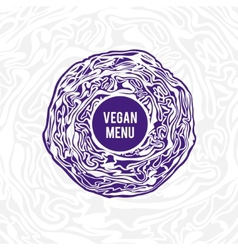 Vegan menu design violet cabbage vector