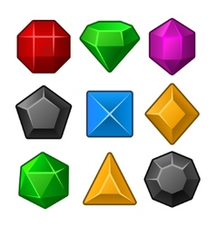 Set of multicolored gems for match3 games vector