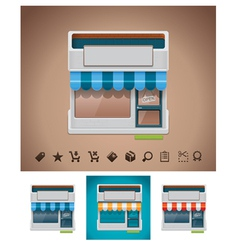 Shop icon with related pictograms vector