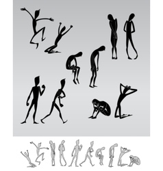 Emotional people cartoon silhouettes vector