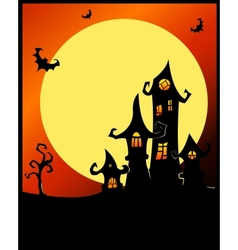 Terrible halloween castle vector