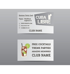 Summer cocktail party business card layout vector