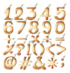 Numeric figures in indian artwork vector