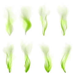 Set of green wave abstract background smoke line vector