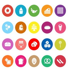 Variety bakery flat icons on white background vector