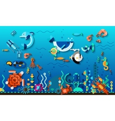 Underwater world concept vector