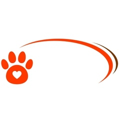 Veterinarian background with paw and heart vector