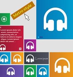 Headphones earphones icon sign metro style buttons vector