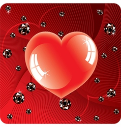 Abstract background of shiny beads and red heart vector