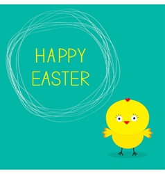 Easter chicken and scribble speech bubble card vector