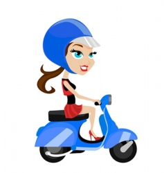 Girl riding motorcycle vector