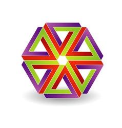 Six penrose triangles shaped like star vector