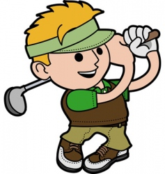 Young man playing golf vector