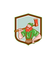 Paul pbunyan lumberjack shield cartoon vector