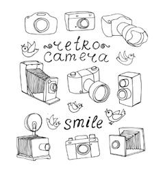 Vintage camera set vector