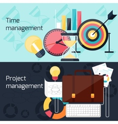 Project and time management flat design concept vector