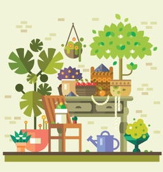 Gathering of vegetables and fruits vector