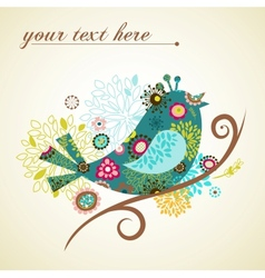 Greeting card with bird vector
