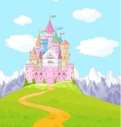 Fairy tale castle landscape vector