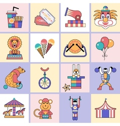 Circus icons set flat line vector