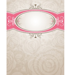 Circle label over beige background of roses vector