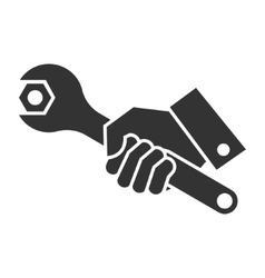 Black of hand holding wrench vector
