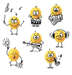 Smiley musical instruments vector