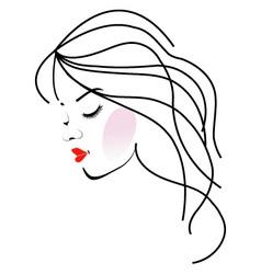 A girl with wavy hair- beauty logo vector