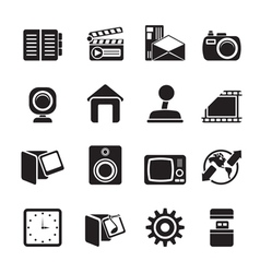 Silhouette computer and mobile phone icons vector
