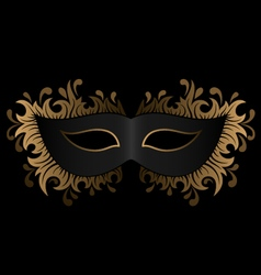 Black mask with golden ornament vector