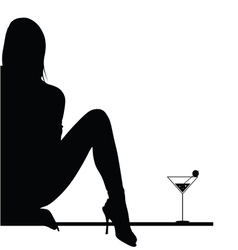 Girl with martini vector