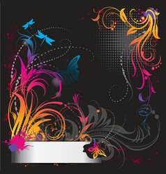 Border with flower ornament with butterfly vector