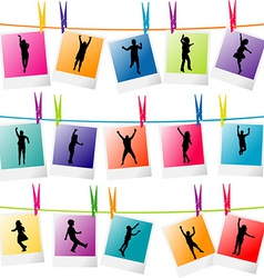 Colorful photo frames with children silhouettes vector