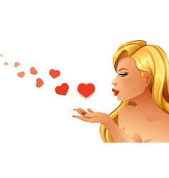 Woman blowing hearts vector