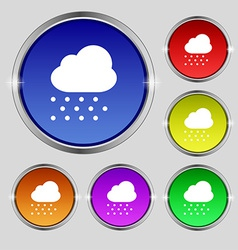 Snowing icon sign round symbol on bright colourful vector