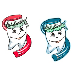 Toothbrush and dental paste vector