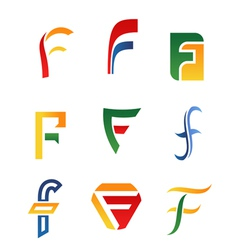 F alphabet symbols and icons vector