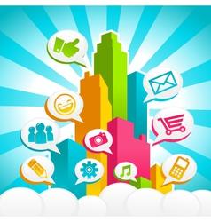 Colorful media city vector