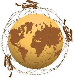 Globe and planes vector