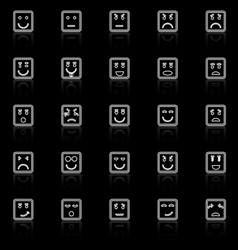 Square face line icons with reflect on black vector