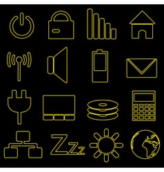 Computer and laptop indication outline icons eps10 vector