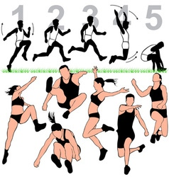 Long jump silhouettes set vector